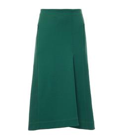 dark green stretch cavalry twill sculpted skirt