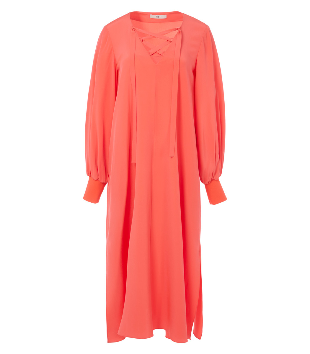 TIBI Neon Pink Silk Tie Front Tunic Dress