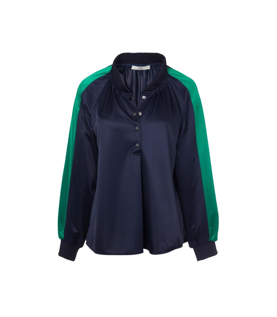 TIBI Navy/Green Multi Tech Pique Raglan Pullover