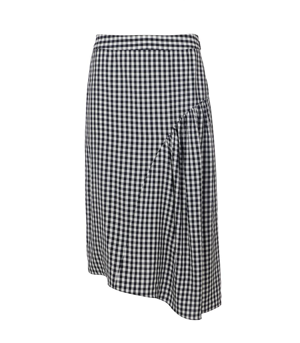 TIBI Black Multi Viscose Gingham Shirred Skirt
