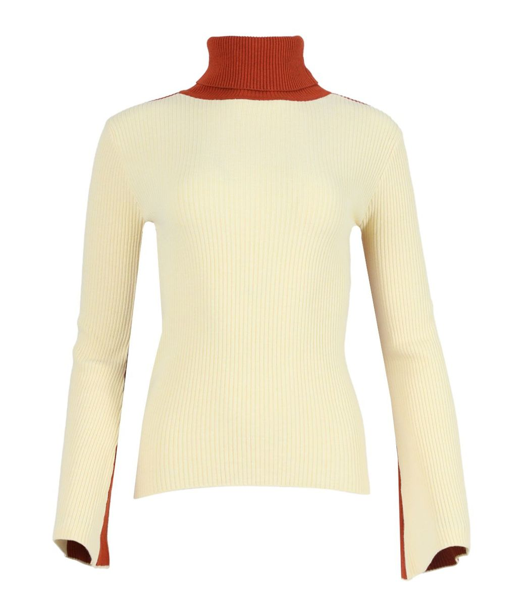 Valentine Witmeur Knits Pale Yellow Knit  Turtleneck Top