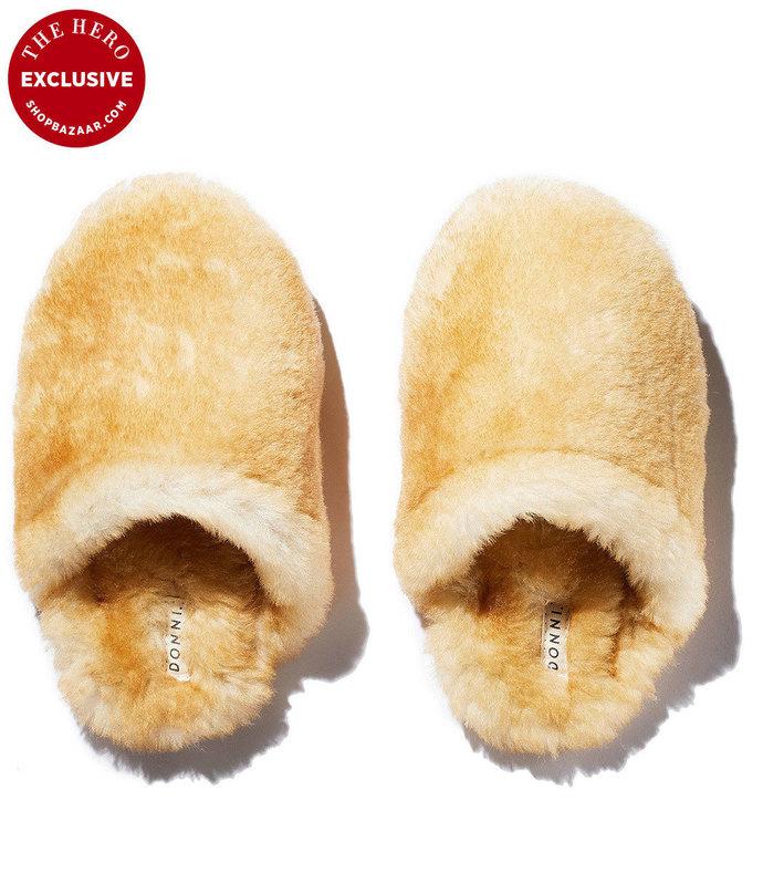 shearling slipper slides