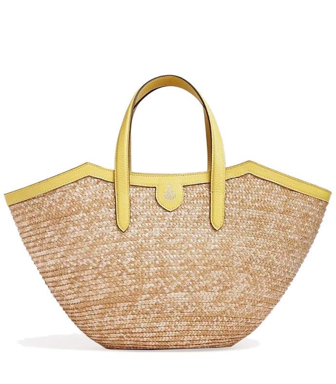 madeline straw and leather basket bag