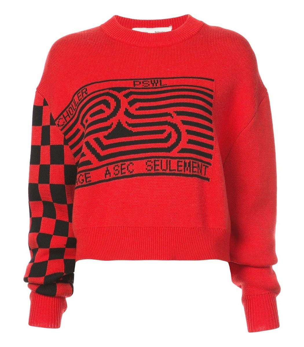 Proenza Schouler Checkerboard Sweater Pswl Shopbazaar wON8XZ0Pkn