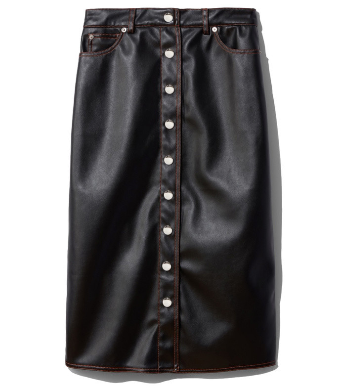 faux leather button front skirt
