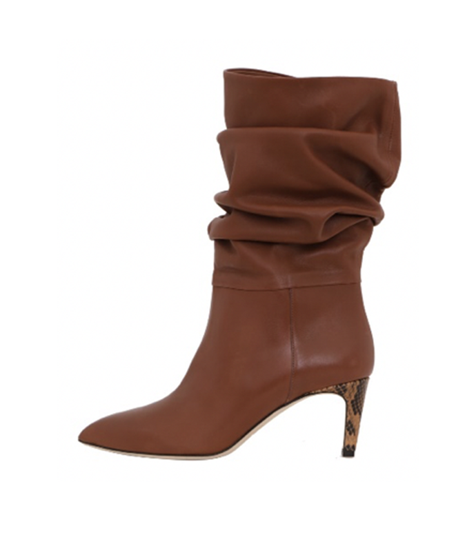 calf leather slouchy boots in cuoio