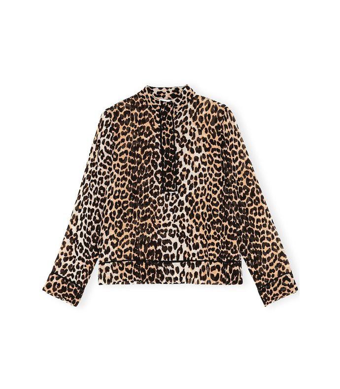 printed georgette henley top in leopard