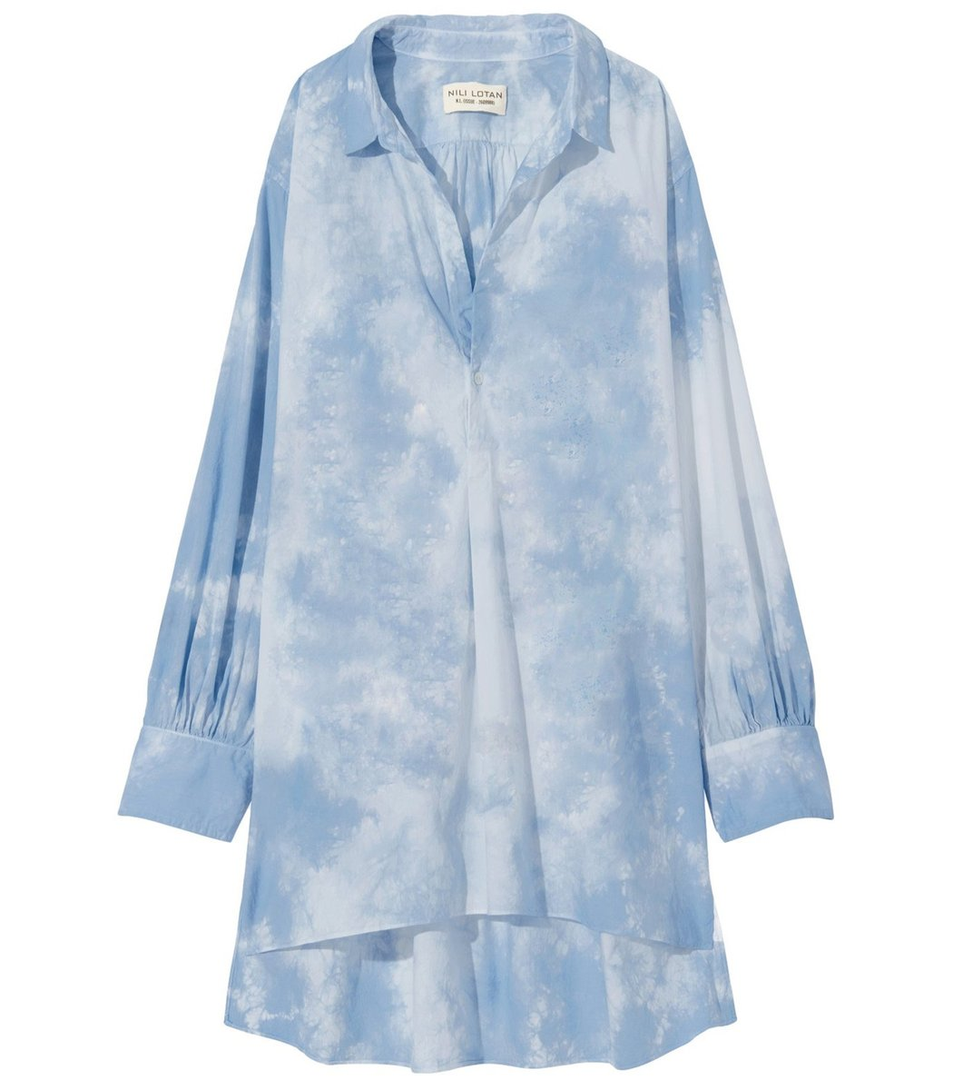 Nili Lotan Ambrose Tunic in Light Blue Tie Dye
