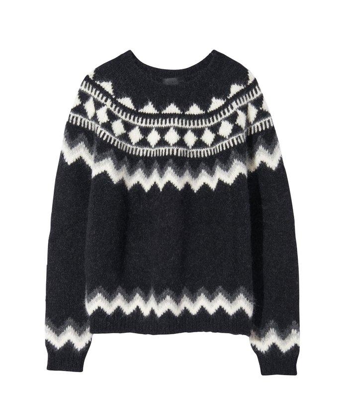 adene sweater in grey fair isle