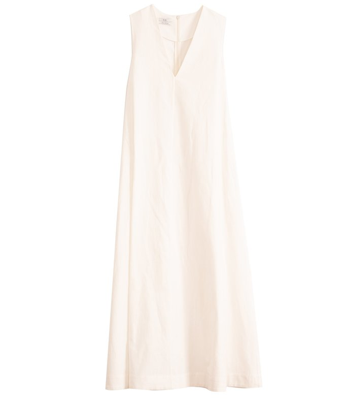 linen cotton sleeveless v-neck maxi dress in white