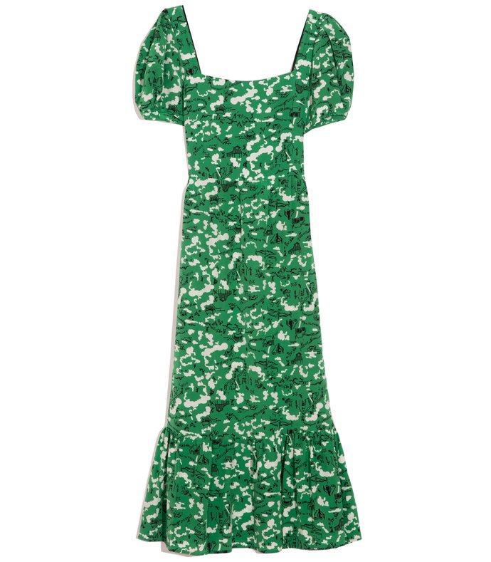 fromer square neck gown with ruffle in green montana barn