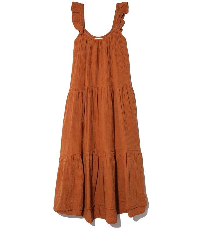 rumer dress in dark honey