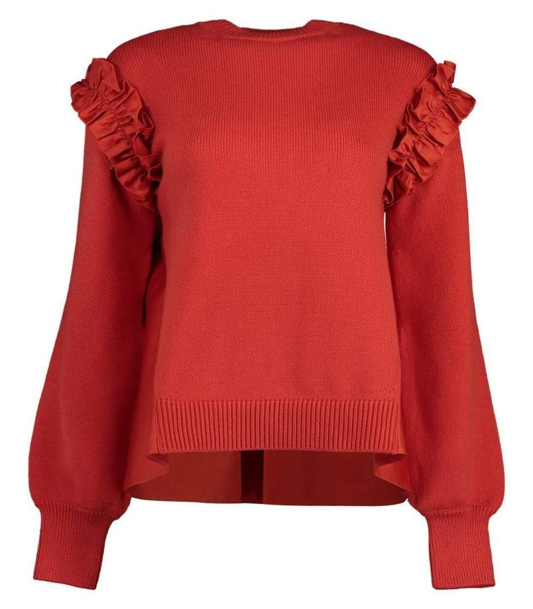 Adeam Red Ruffle Sweater