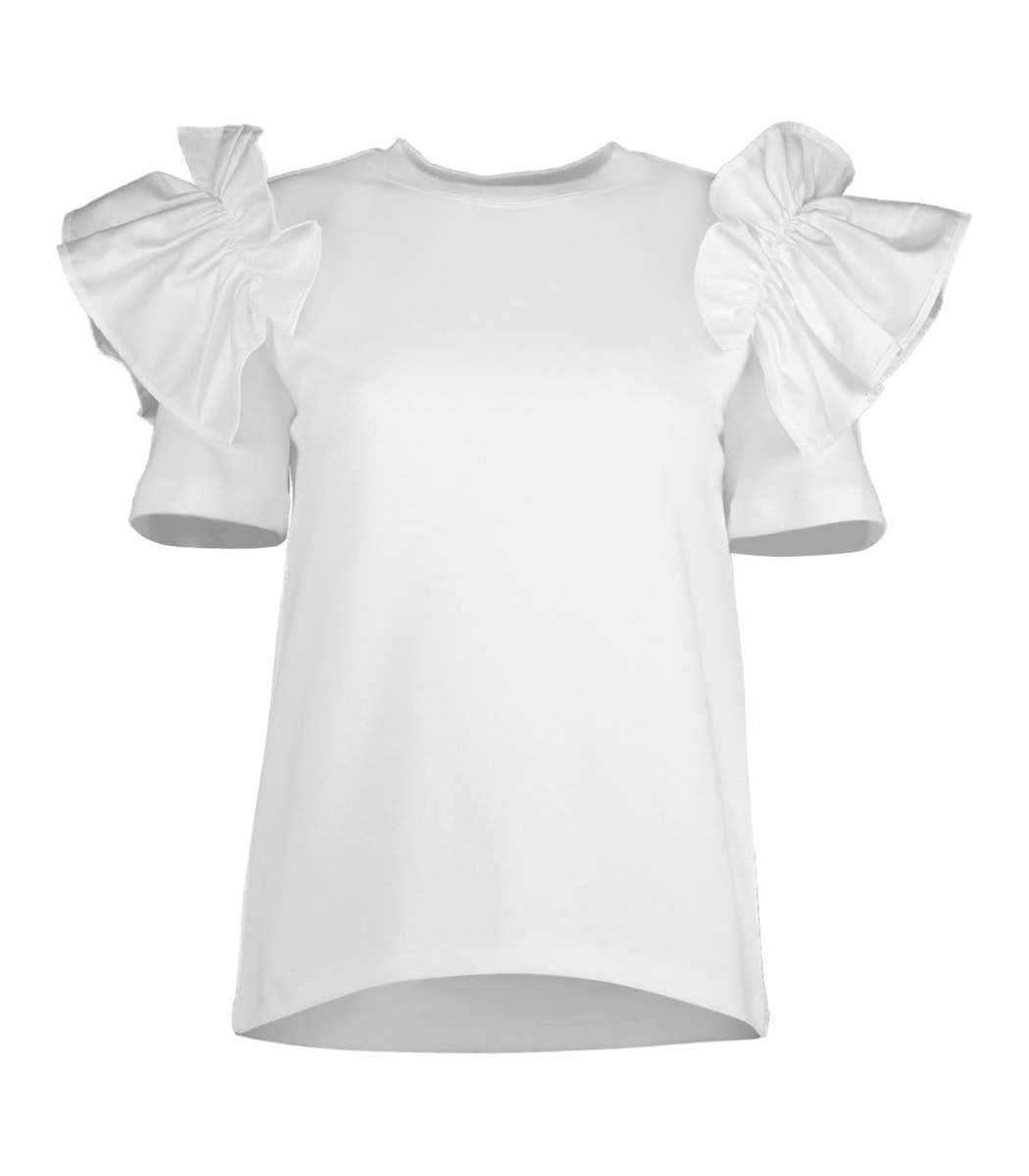 Adeam Short Sleeve Ruffle Tee Shirt