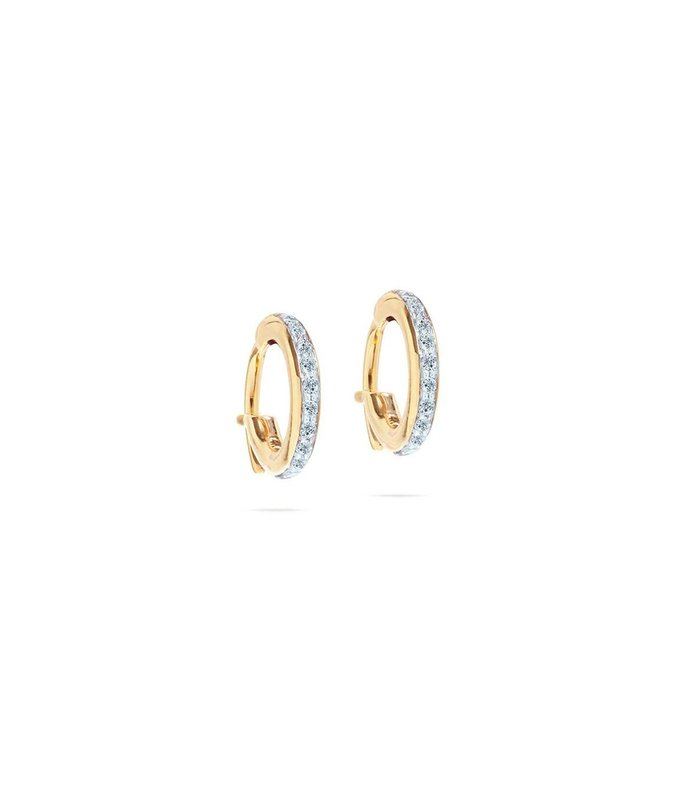 pave huggie hoops in yellow gold