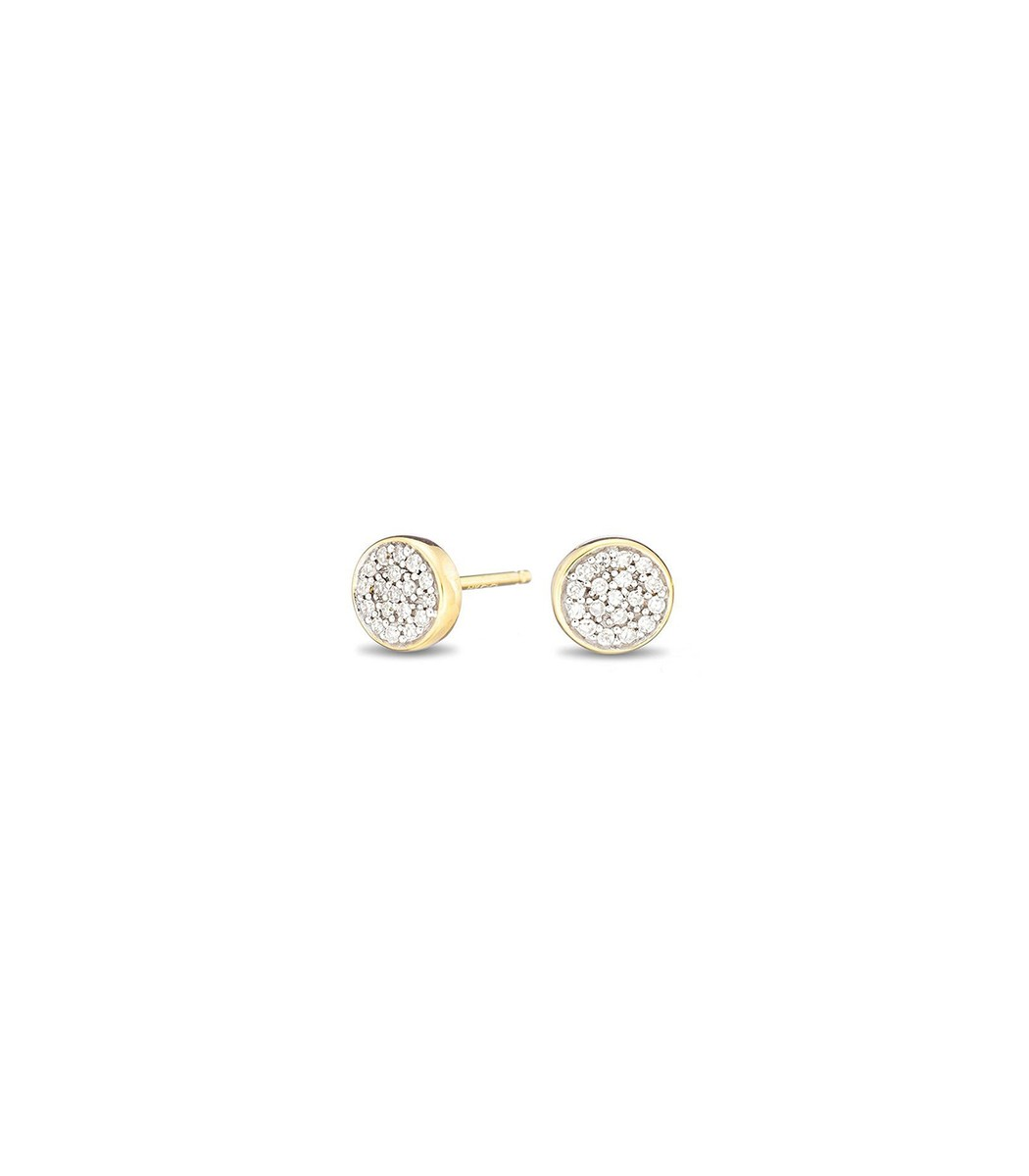 ADINA REYTER Yellow Gold Solid Pave Disc Posts