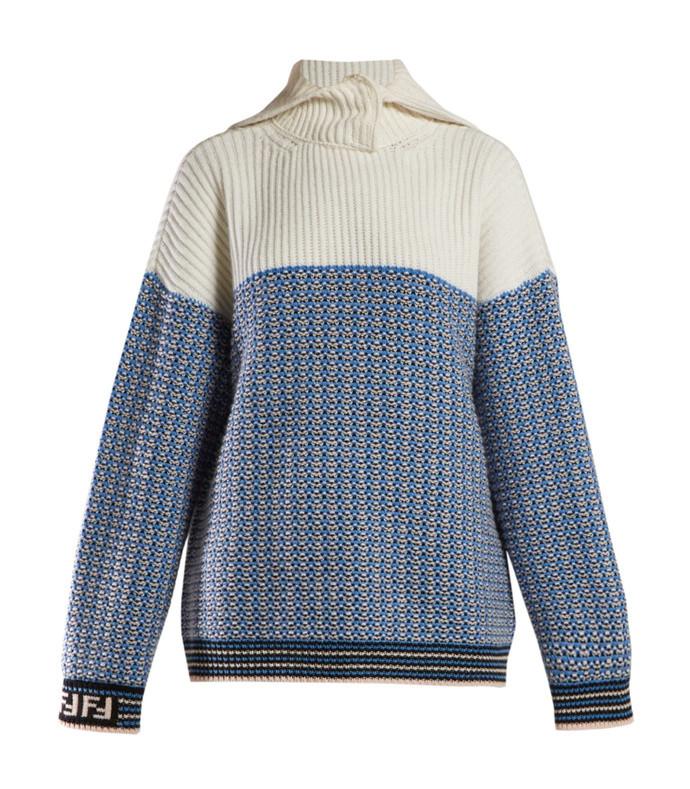 waffle knit logo sleeve turtleneck sweater
