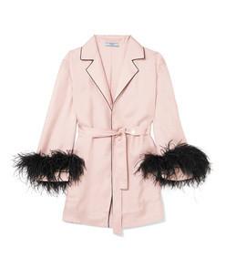 feather-embellished silk-twill robe