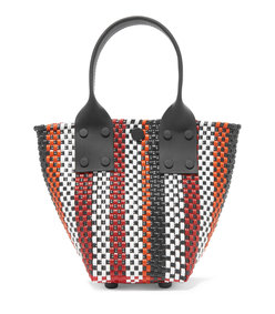 le sac mini striped woven raffia-effect tote