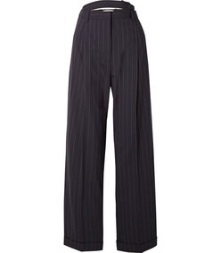 belted cutout pinstriped wool-blend pants