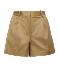 pleated cotton-blend twill shorts