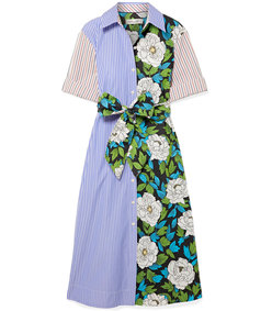 patchwork-effect cotton-twill midi dress
