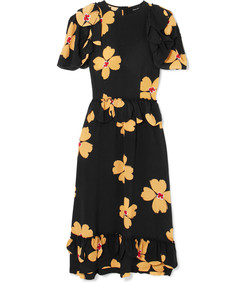 ruffled floral-print silk-crepe midi dress