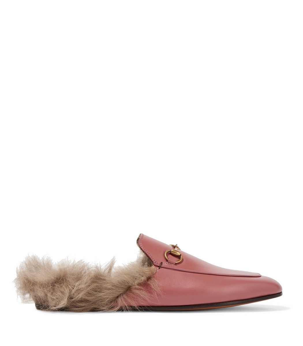 033bc0a852ce Home   Gucci   Princetown Horsebit-Detailed Shearling-Lined Leather Slippers.  prev