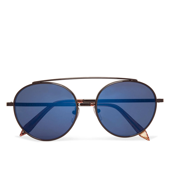 round-frame metal mirrored sunglasses