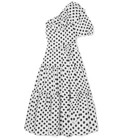 arden ruffled one-shoulder polka-dot linen maxi dress