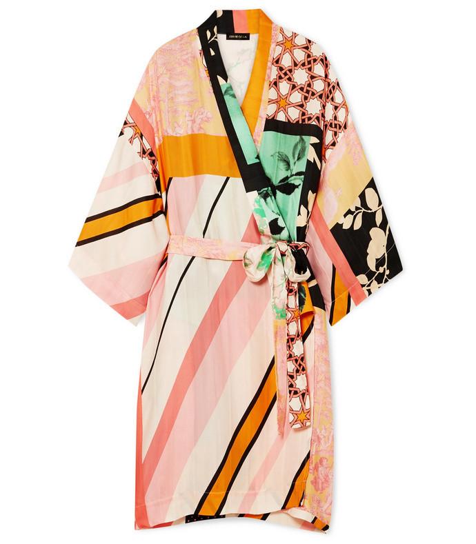 naty printed satin kimono