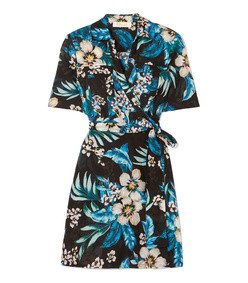 floral-print cotton and silk-blend mini wrap dress
