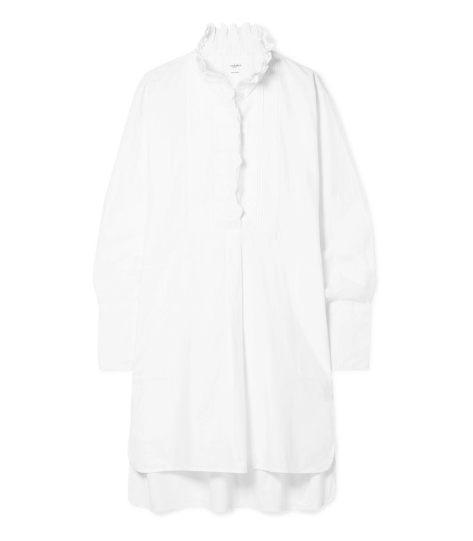 milena oversized crochet-trimmed cotton-poplin mini dress