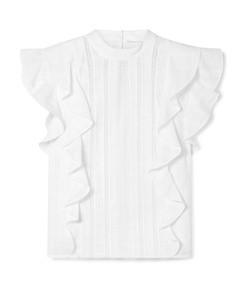 sol lace-paneled ruffled cotton-jacquard top