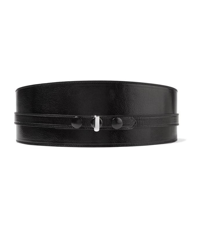 kajy glossed textured-leather belt