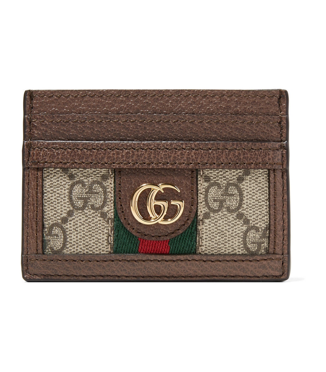 af467bab9fb Home   Gucci   Ophidia Textured Leather-Trimmed Printed Coated-Canvas  Cardholder. prev
