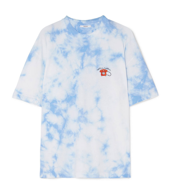 ginsbourg verbena embroidered tie-dyed cotton-jersey t-shirt