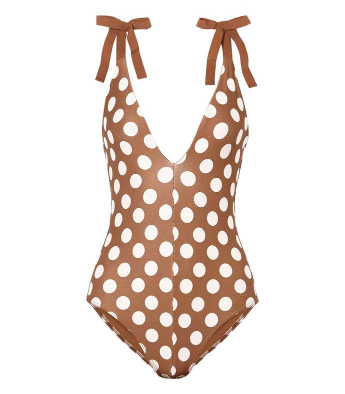grosgrain-trimmed polka-dot swimsuit