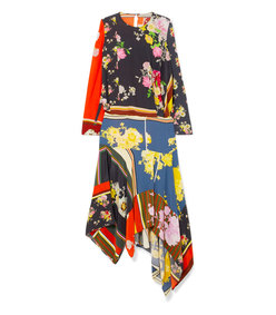 kara asymmetric printed crepe de chine midi dress