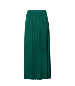 beatrix pleated crepe-jacquard midi skirt