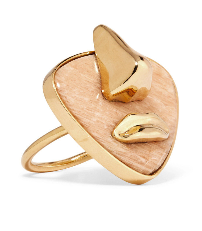 breton gold-plated amazonite ring