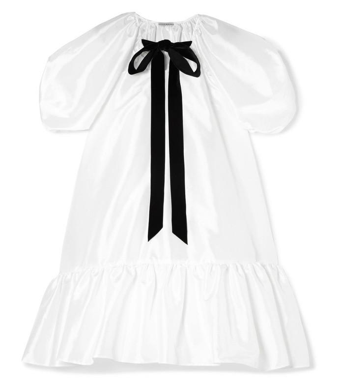 chrystal pussy-bow ruffled satin mini dress