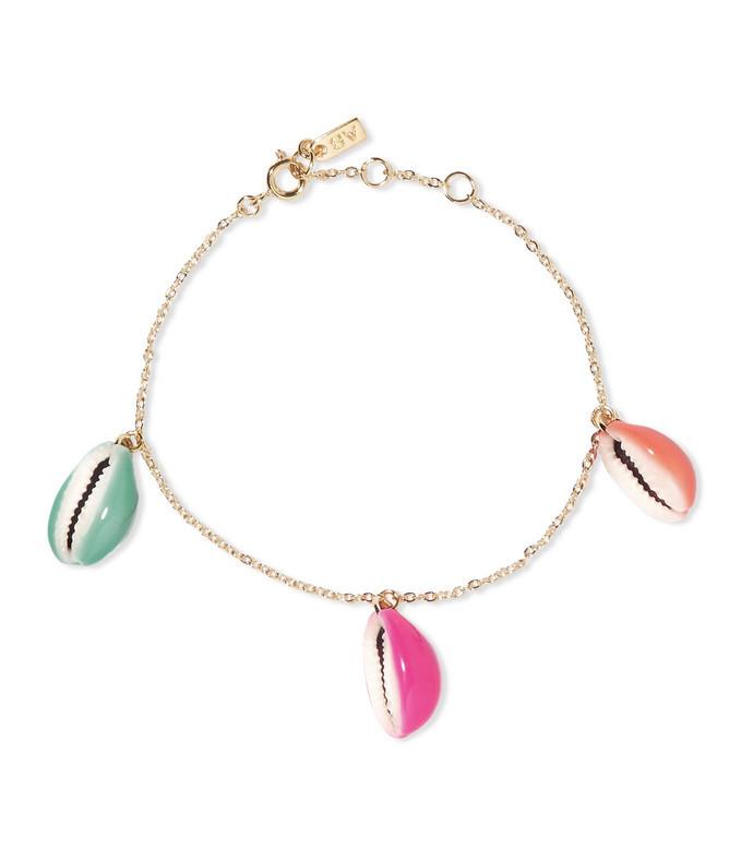 gold-plated, shell and enamel bracelet