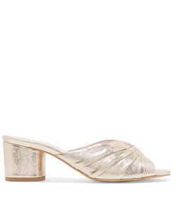 stephanie metallic textured-leather mules