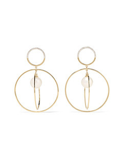 14-karat gold, diamond and pearl earrings