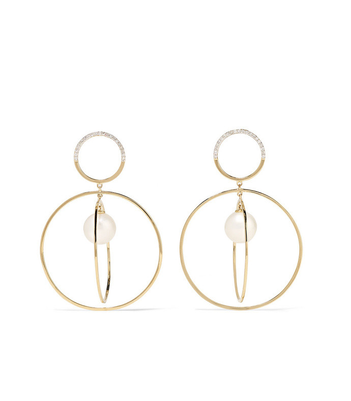 14-karat gold, diamond and pearl earrings