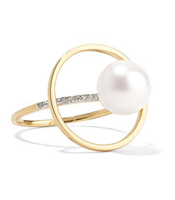14k gold, pearl and diamond ring