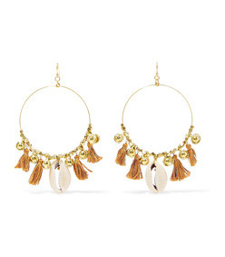 tasseled gold-tone shell earrings