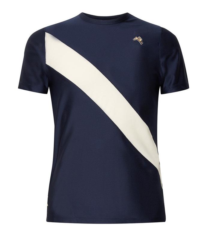 van cortlandt striped stretch-mesh t-shirt