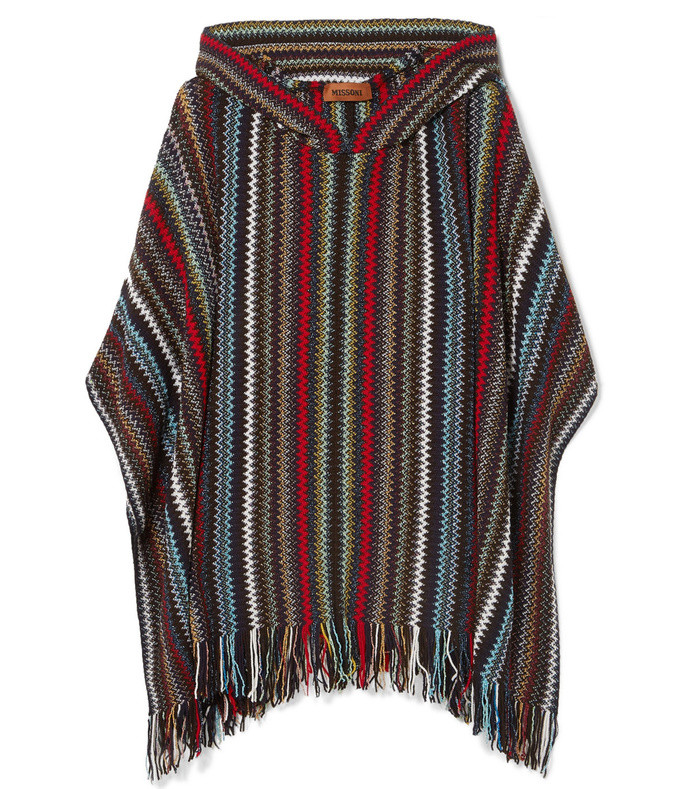 hooded fringed metallic crotchet-knit poncho